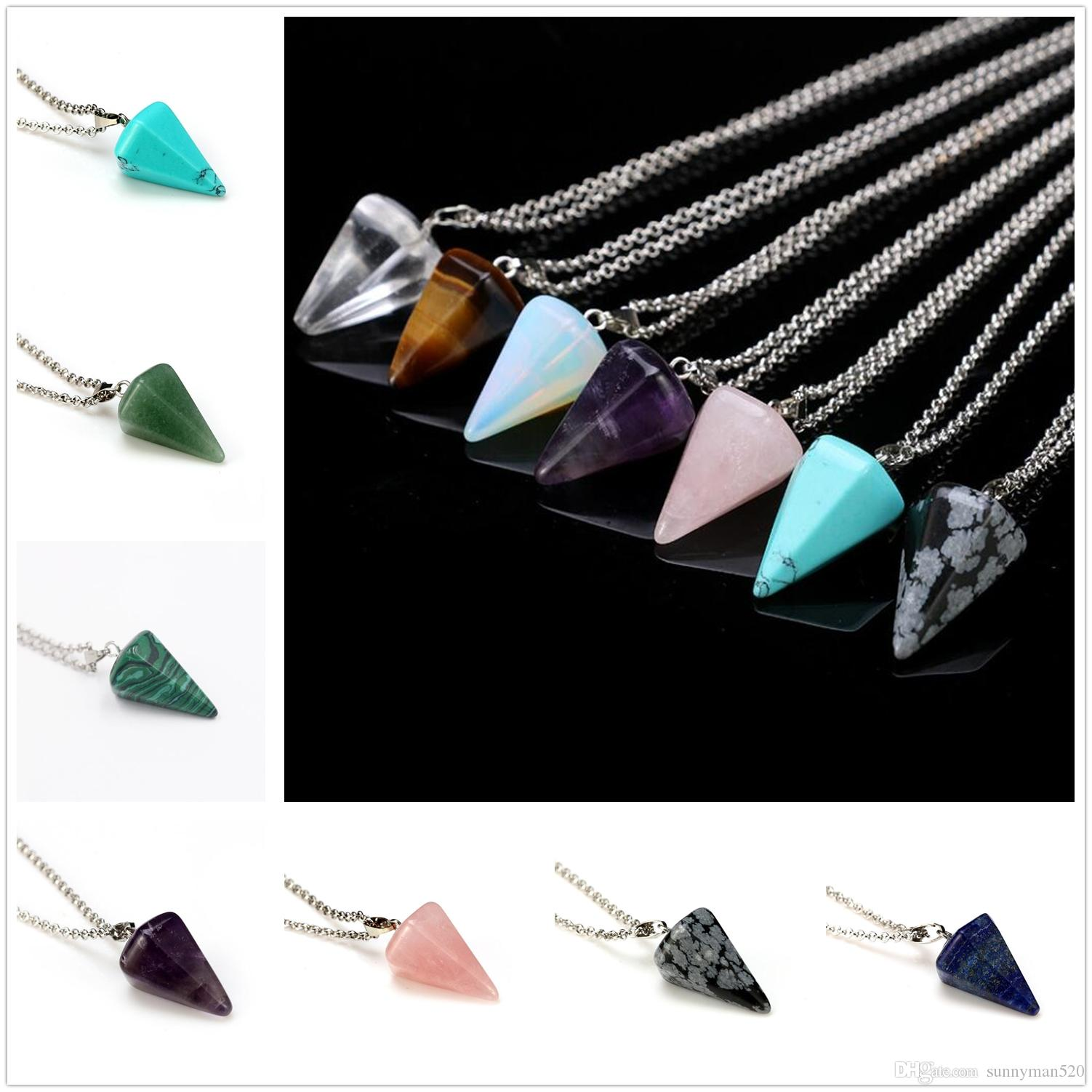 Hot Wonderful Artificial Crystal Conical Pendant Necklace Charm Alloy Chain Jewelry Unisex Lovely Gifts Free Shipping