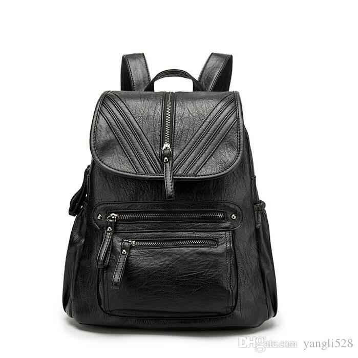 Backpack female 2019soft leather Korean version of the wild fashion ladies backpack simple leisure travel bag
