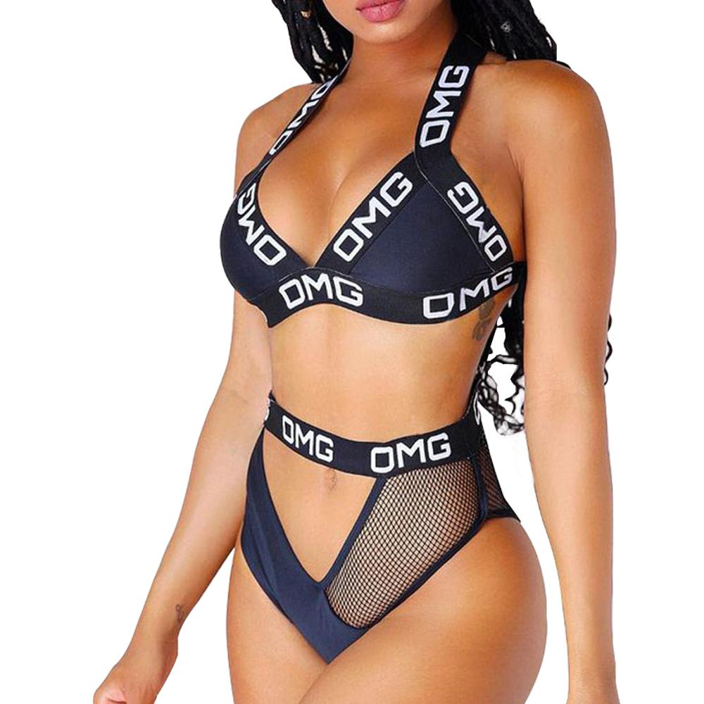 f1c3c8049d1 2019 Women S Sexy Thong Push Up Padding Brazilian Bikini Black Mesh  Patchwork High Cut Out Halter Letter Swimsuit Women Bathing Suit From  Boniee