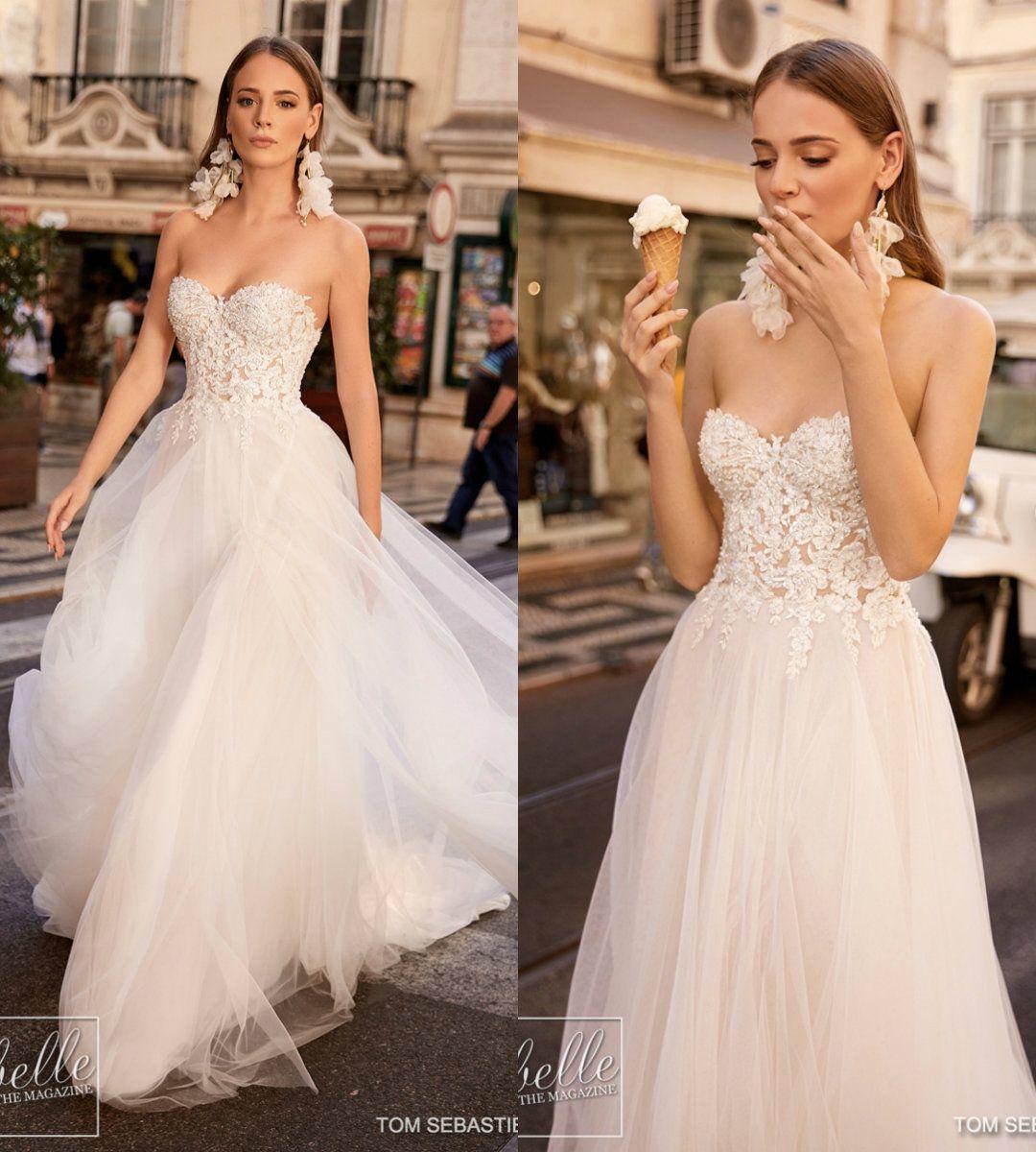 de6c7bfba5ba Discount 2019 Gali Karten Beach Wedding Dresses Sweetheart Lace Appliqued  Bodice Beads A Line Floor Length Boho Wedding Dress Custom Bohemian Bridal  ...