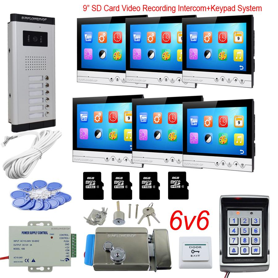 E-lock Free Shipping New 7 Door Monitor Video Intercom Door Phone Recorder System 2 Monitors 8g Sd Waterproof Rain Cover