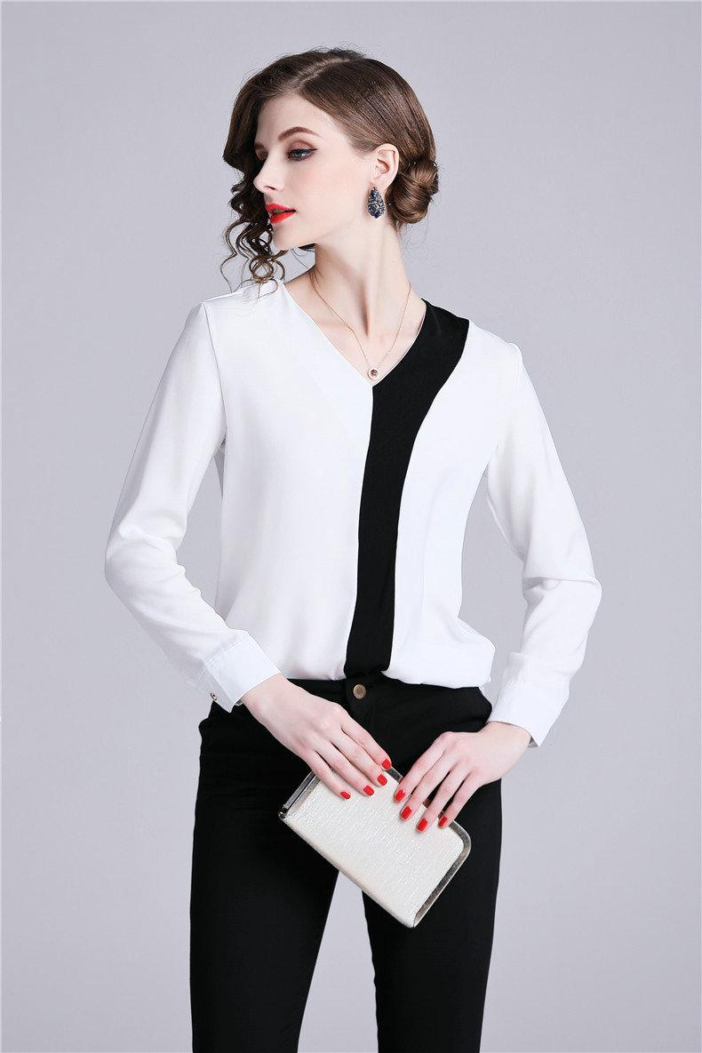 b720e7d72f641 2019 Classic Black And White Contrast Shirt Long Sleeve V Neck Womens Tops  Fashion Elegant Business Blouses Ladies Office Shirt Quality New From ...