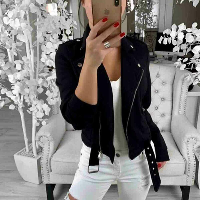 Women Ladies Zip Up Casual Jackets Coats Biker Flight Coat Turn-down Collar Jacket Zipper Casual Slim Outwear For Women