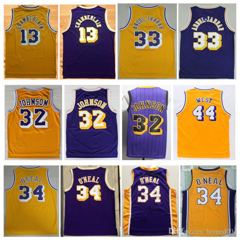 5665ccbbd60 2019 City 32 Earvin Johnson Jersey 34 Shaquille O Neal 44 Jerry West ...