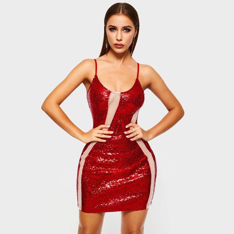 0935a80b898b Women Mini Dresses Casual Sexy Club Red Bodycon Plain Sequins Punk Style Hot  Sale OL Hip Hop Female Fashion Travel Short Dress All White Maxi Dresses  Off ...