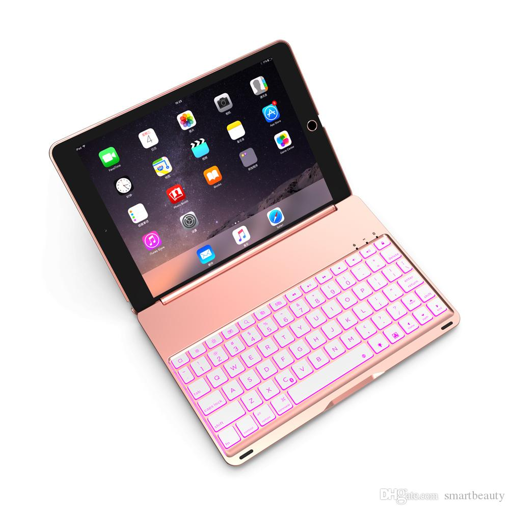 Keyboard Case Compatible with iPad 9.7 inch 2018/2017 Hard Shell Case with 7 Colors Back-lit Wireless Keyboard for iPad 6th 5th