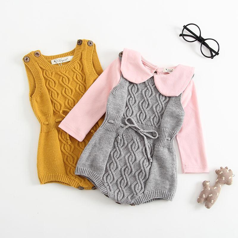 2019 Autumn New Baby Girl Boy Sleeveless Sweater Rompers Babygrows Knitted Cashmere Playsuit One-piece Outfits Drop Shipping