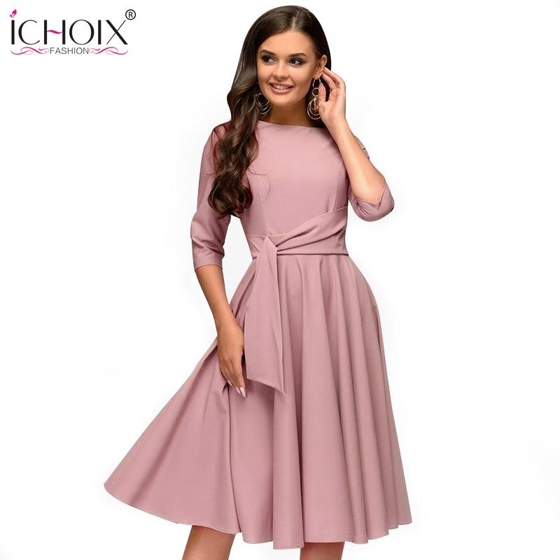 bac68832303 2019 ICHOIX 2019 Spring Summer Women Casual Dresses Elegant A Line Solid  Dress Ladies Slim Office Party Dress Sashes Womens Clothing Y19012102 From  ...
