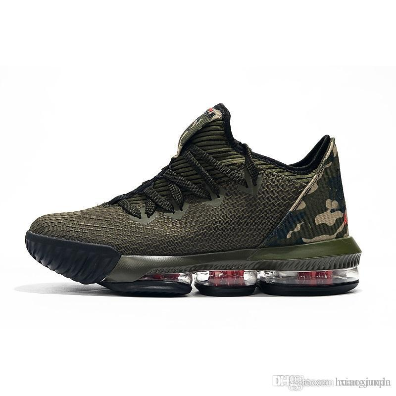 promo code 06b87 e72af Cheap mens lebron 16 low basketball shoes for sale Army Green Black Gold  Tan Bred youth kids new lebrons sneakers tennis with box Size 7 12