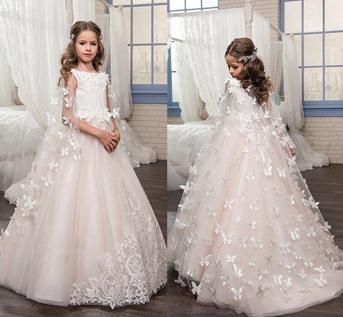 1e80169e3bf White Ivory Lace Kids TUTU Flower Girl Dresses With Butterfly First  Communion Party Princess Gown Bridesmaid Wedding Formal Dress 193 Flower  Girl Dresses ...