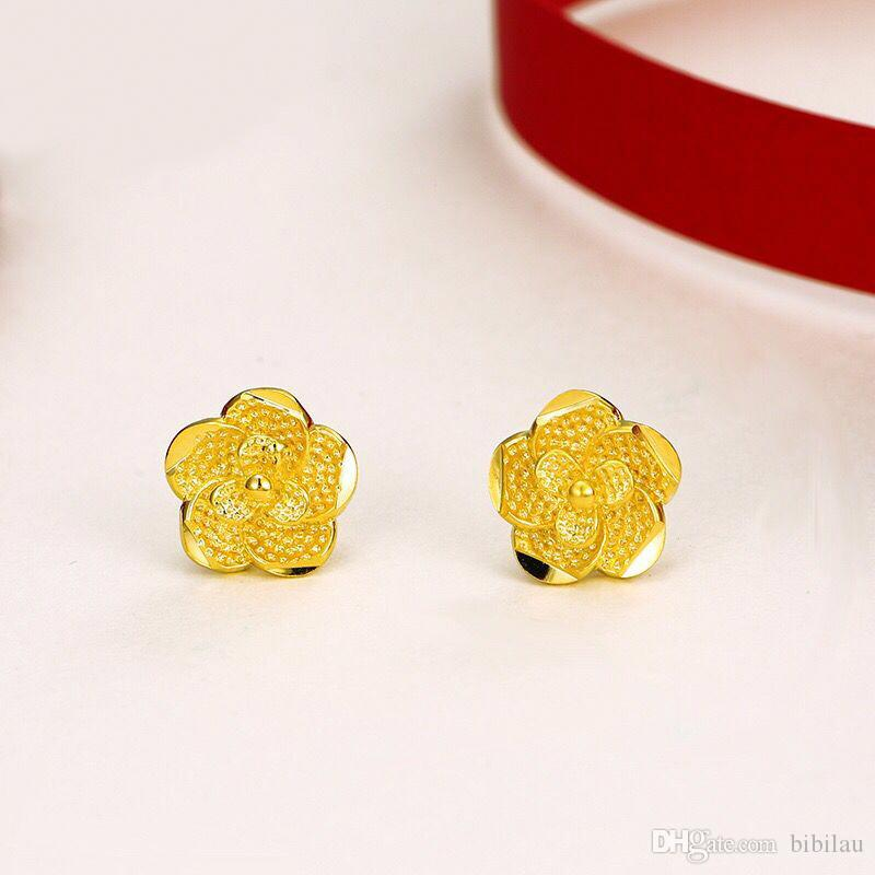 MGFam (637E) 2019 Hot Small Flowers Stud Earrings for Women Bridal Jewelry 24k Pure Gold Plated Traditional Style