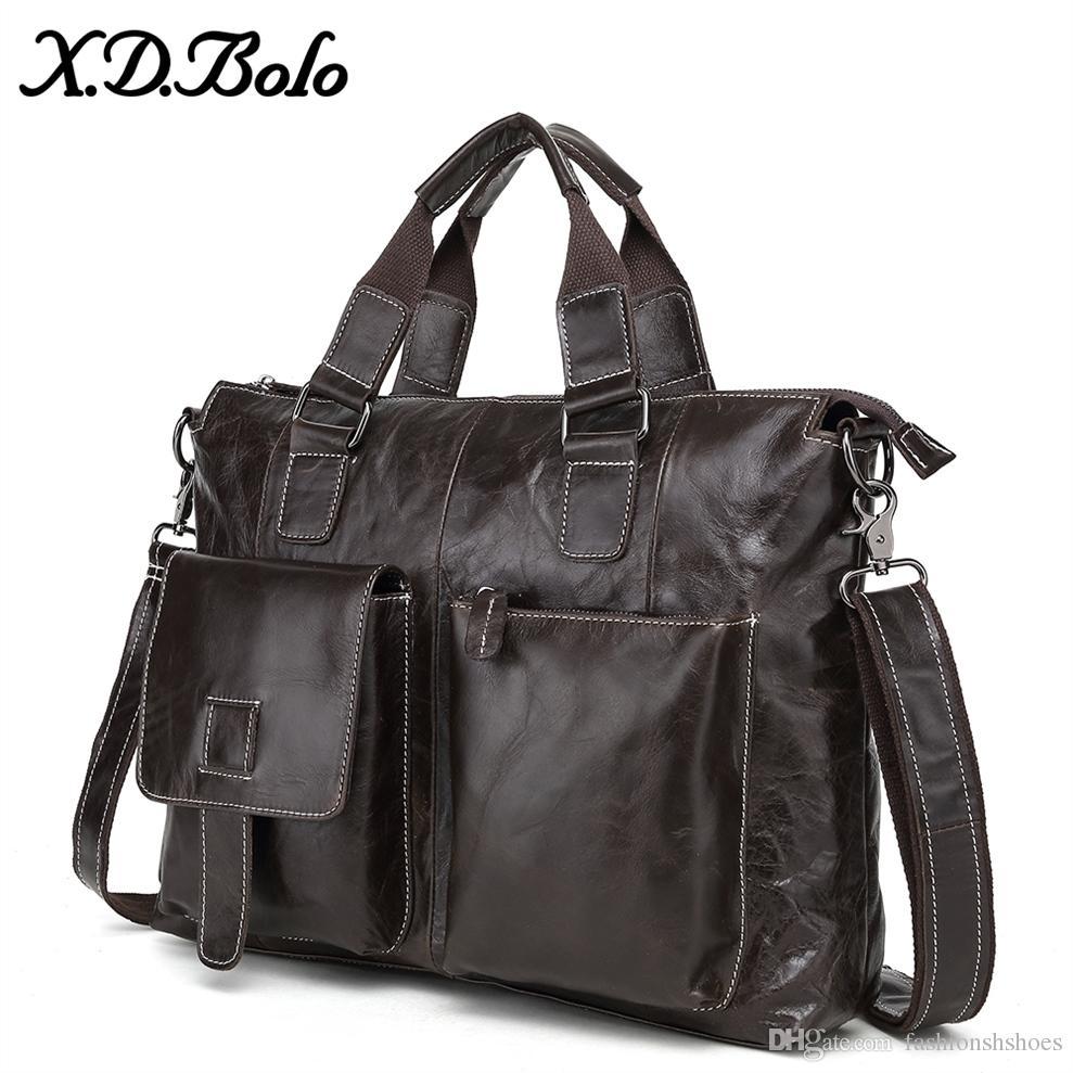 b6af37ae5cf4 X.D.BOLO Leather Briefcase Bag Men Business Male Messenger Bags Mens  Shoulder Bags 14 Laptop Briefcases Man Tote Handbags #279660