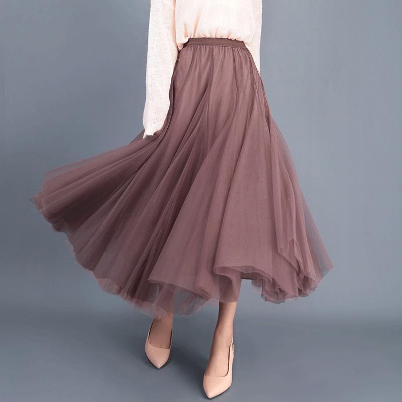 fd804a0d84a40 vente en gros jupe longue en tulle maille plissée tutu femmes demoiselles d  honneur jupon lolita jupe longue vintage jupe saias faldas