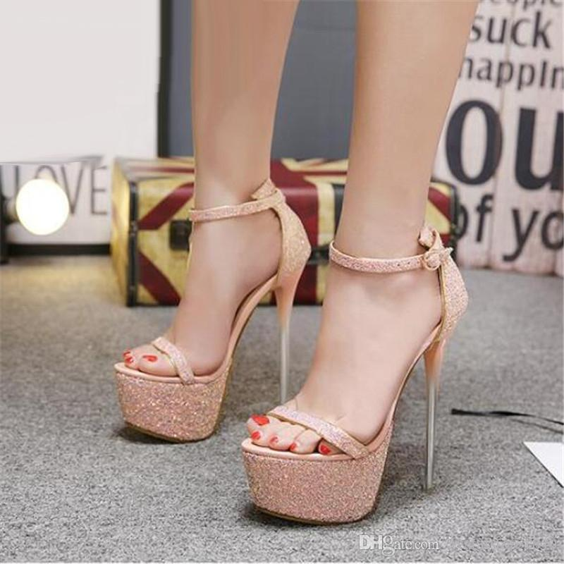 abdffecc89f Summer Sexy Women Sandals High Heels Bling Open Toe Transparent Heel  Gladiator Sandals Platform Party Shoes Size 34-40
