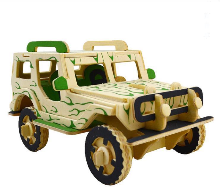 Compre Color Jeep Simulación De Madera En 3d Rompecabezas Modelo De