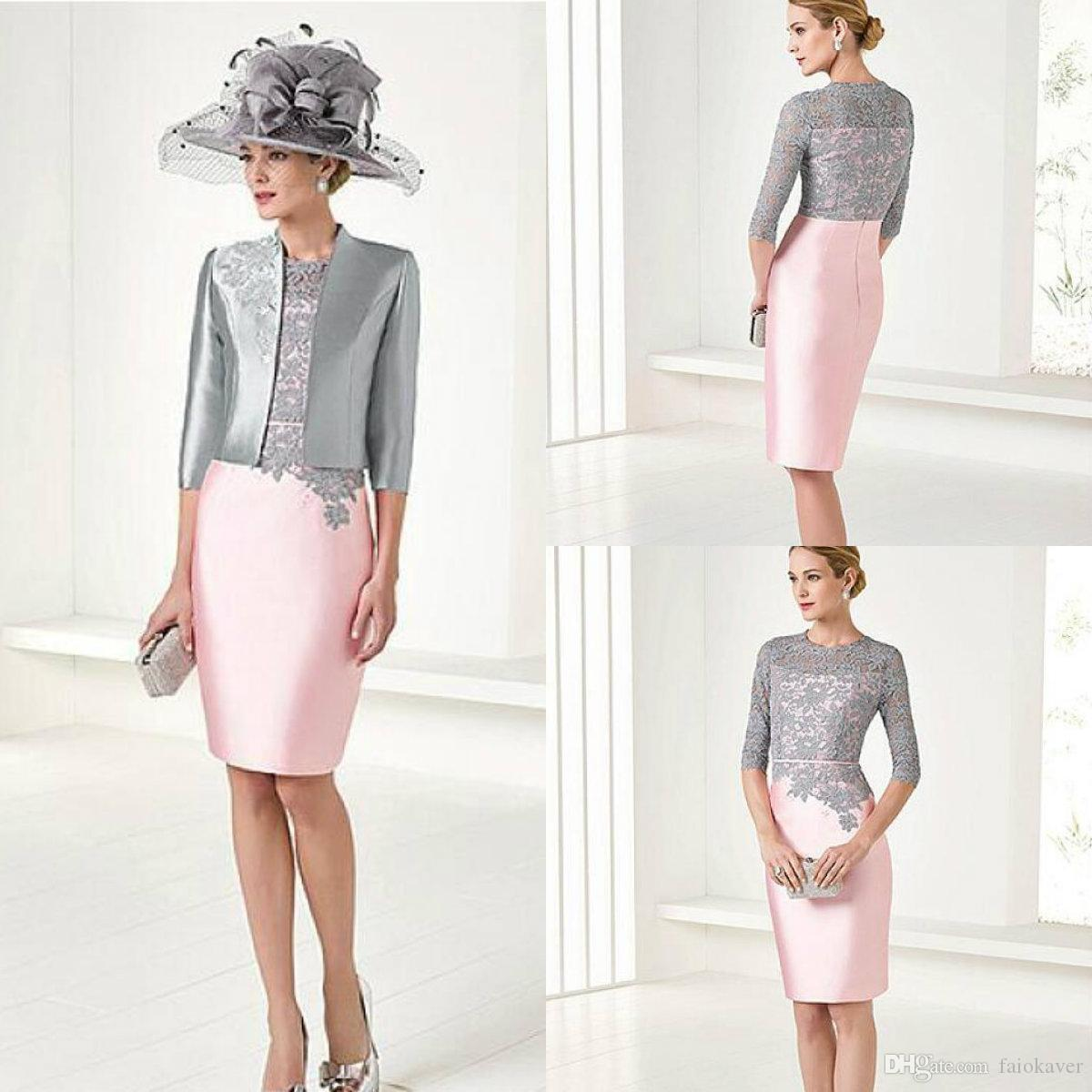 2019 Elegant Pink Mother Of The Bride Dresses With Jacket Knee Length 3/4 Long Sleeve Mother Of The Groom Gowns Plus Size