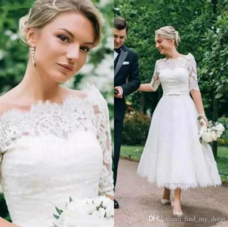 Princess Garden Lace Sash Off Shoulder Sexy Half Sleeve Short Wedding Dresses 2020 White Ivory Tea Length Bridal Gowns Romantic Elegant