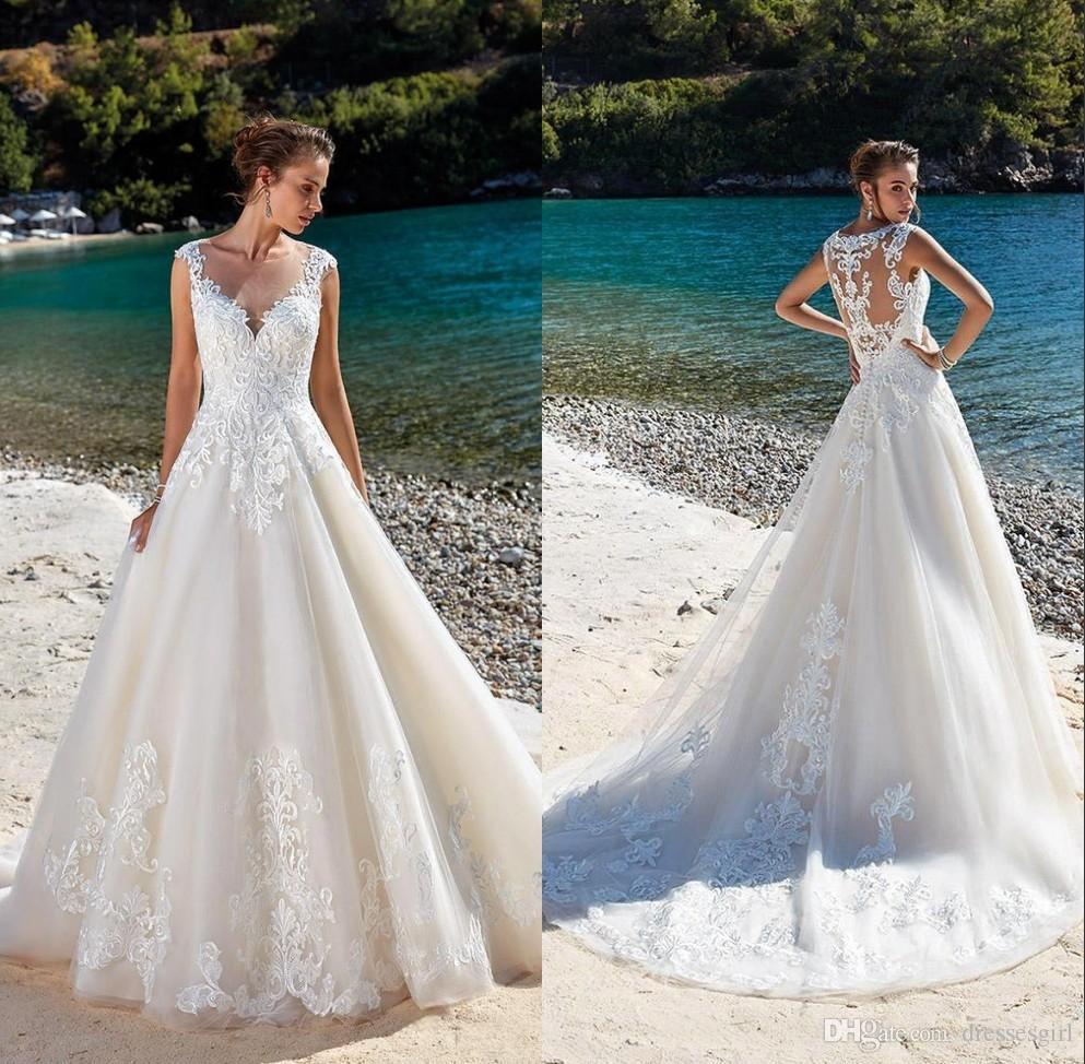 7251fa5a6f759 2019 Sheer V Neck Beach Wedding Dresses Lace Appliques Bridal Gown A Line  Tulle vestido de novia BC1310
