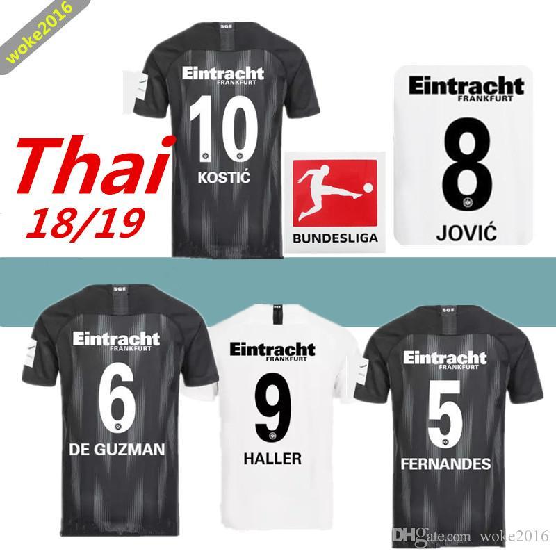 da4f6d8e24 Compre 18 19 Eintracht Frankfurt Time De Futebol Adulto Fora De Casa Camisa  2018 2019 Frankfurt Uniforme De Futebol HALLER JOVIC REBIC Camisa De Futebol  ...