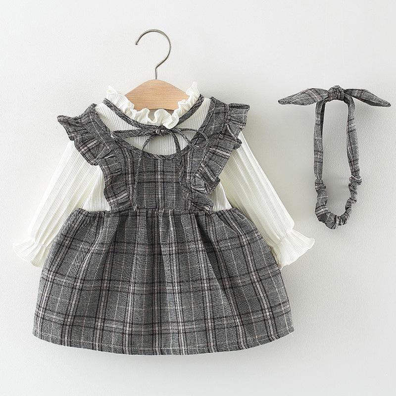 Gilrs Princess Dresses Baby Kids Winter Fleece Stampe a un pezzo in plaid Stang Colloar Lace Sweety Cute Top 70cm-100cm