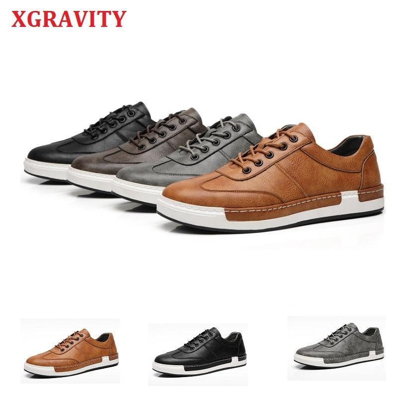 XGRAVITY Spring Autumn Man Casual Leather Shoes Round Toe New Fashion Leisure Flat Sneaker Korean Design Men's Shoes A195