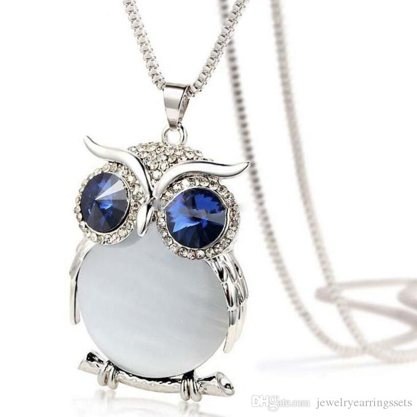New Style Women Necklace Owl Pendant Rhinestone Sweater Chain Long Necklaces Jewelry Ornaments Exquisite Torque Trinket 5 Colors