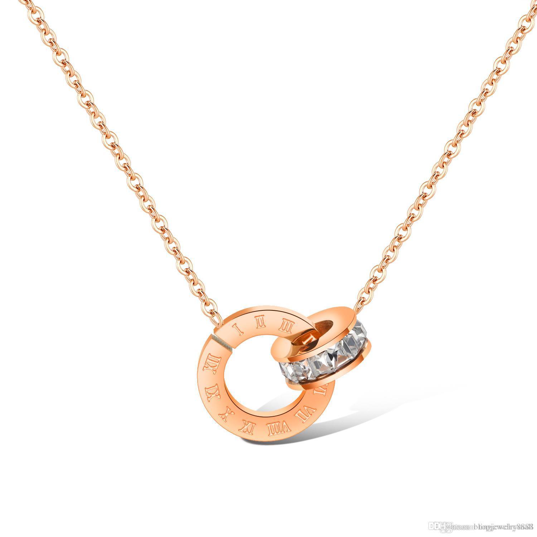 Bijoux Femmes Gx1396 Luxe Cz Acier Or Mode Rose Aaa Femelle Cadeau Chiffres Collier En Romains Pour De Inoxydable Pendentif Y6fygb7v