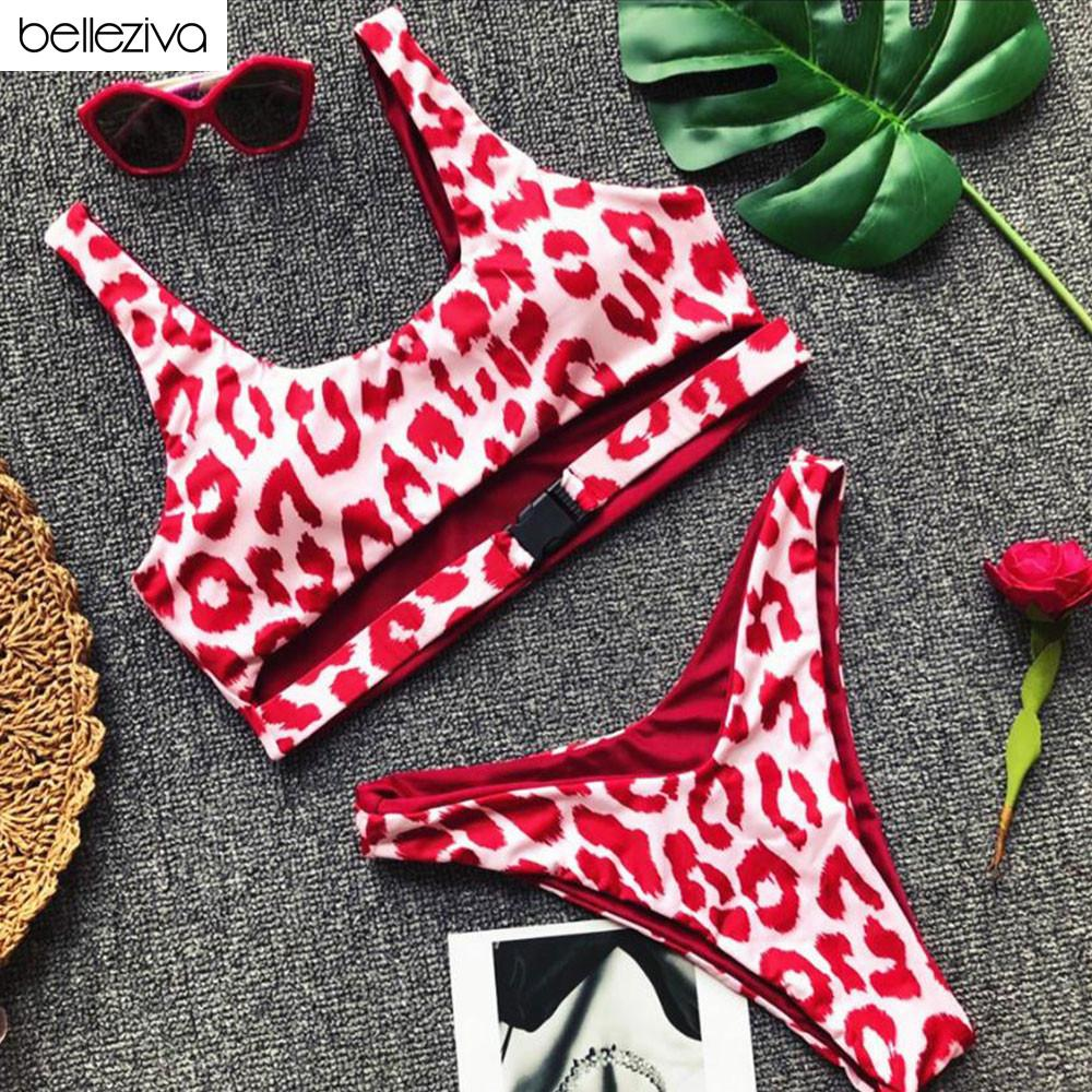 519c520e78f7 Belleziva Sexy Bikini Traje de baño Bikini brasileño Conjunto Halter Top  Ropa de playa Empuje hacia arriba Hueco hacia fuera Mujeres Traje de baño  ...
