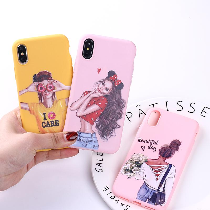 Fashion Queen Classy Paris Girl Summer Travel Mom Baby Soft Silicone Candy Case Coque For Iphone 6 5s 8 8plus X Xs Max 7 7plus Discounts Sale Cellphones & Telecommunications
