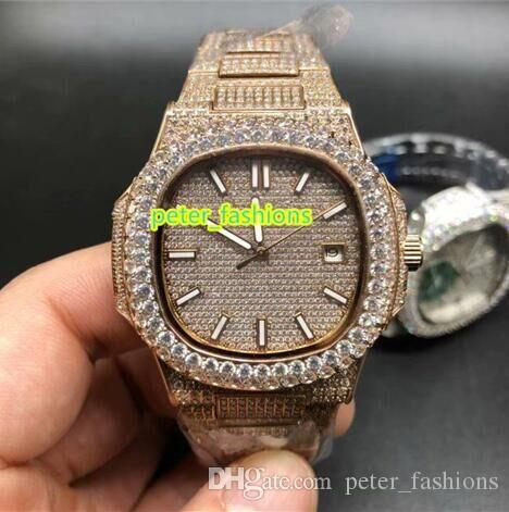 a55084b13c7c8 Rose Gold Iced Out Diamond Luxury Watch Double Row Diamond Bezel Men s Hot  Sale Watches Top Stable Automatic Mechanical Watch