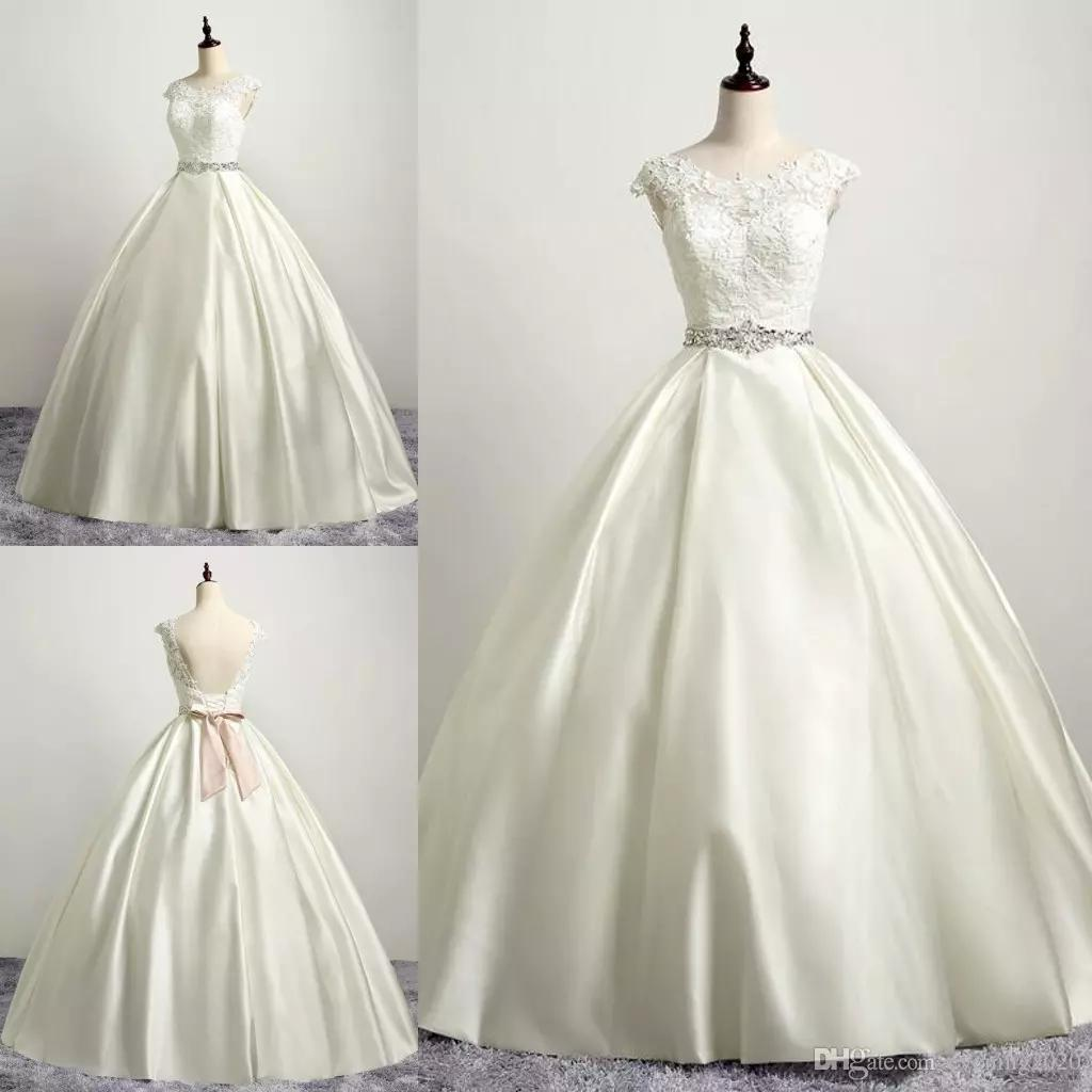 Plus Size Customized Ball Gown Wedding Dresses Ivory Backless Lace Up Robe De Marie Gowns Linen Dress: Linen Line Wedding Dress At Websimilar.org