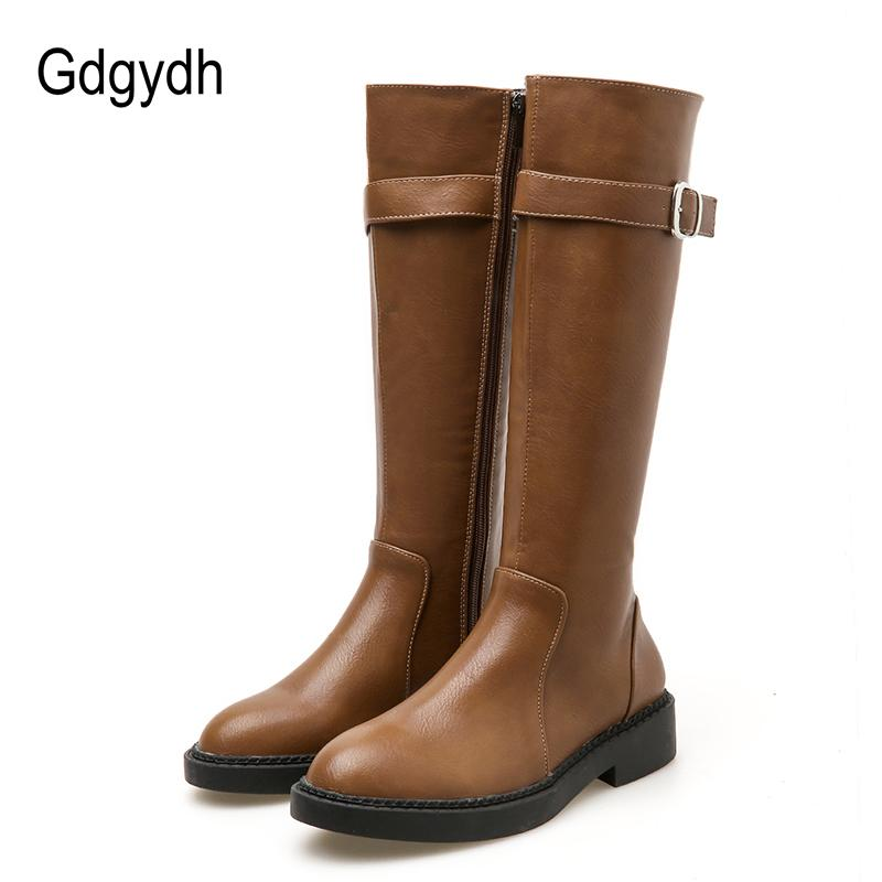 982770d6ee1 Gdgydh 2018 Fashion Square Heels Zipper Women Booties Shoes Winter Knee  High Boots Female Autumn Rubber Sole Ladies Leather Shoe Boots Online Leather  Boots ...