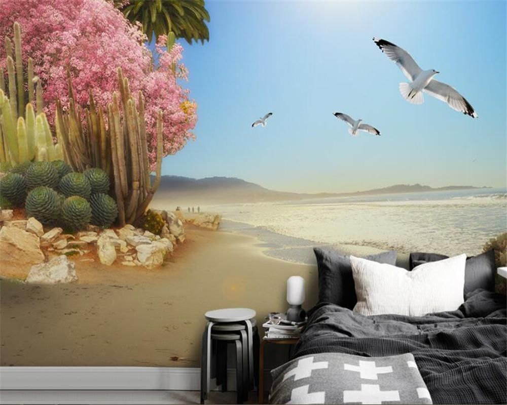 Custom wallpaper naked eye 3D seaside tropical plants flowers and birds background wall painting 3d
