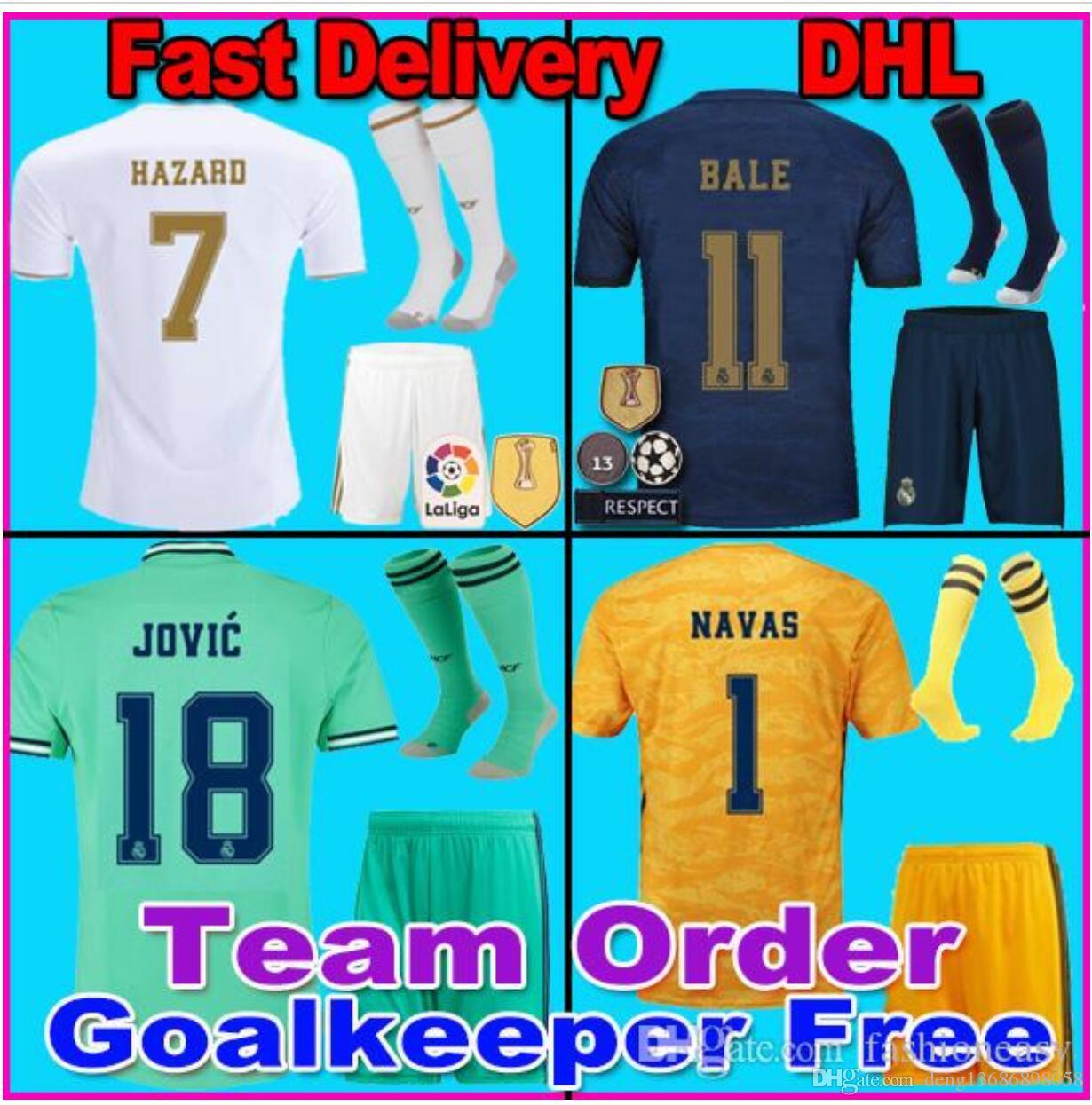 online store 5566a af658 19 20 Real Madrid Soccer Jersey Kit HAZARD home away adult soccer shirt  ASENSIO ISCO MARCELO madrid 2019 2020 kids kit Football uniforms
