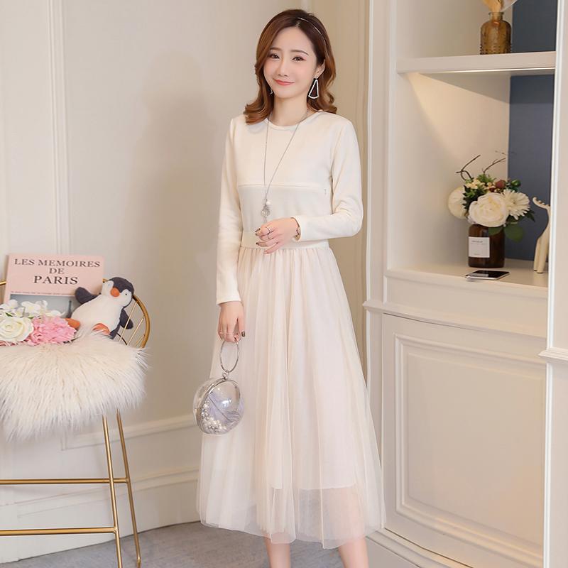 073823094af4 2019 кормящих платье женщины весна осень элегантный твердые тонкий грудное  ...