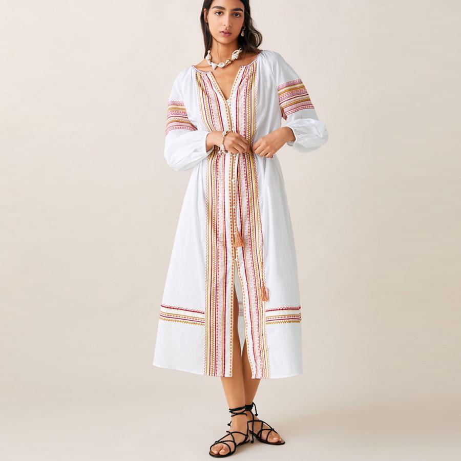deb49e0677 TEELYNN Gypsy dress white cotton ethnic Floral embroidery summer Dresses  long sleeve loose tunic women dresses BOHO vestido 2019