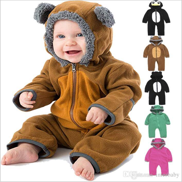 aa4acc5e4 2019 Kids Clothes Baby Cartoon Rompers Toddler Animal Fleece ...