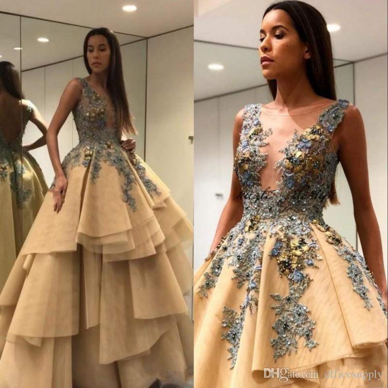 Champagne 3D Floral Applique Prom Pageant Dresses 2020 Sheer Plunging Jewel Tiered Skirt Princess Evening Wear Party Gowns