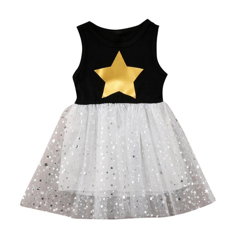 Kinder Feestjurken.Grosshandel Kinder Kinder Baby Kleid Madchen Armellos O Neck Sterne