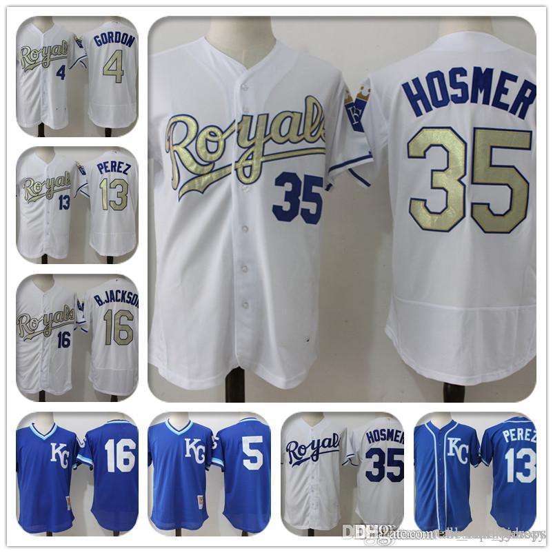 ad4fc5c5d3b 2019 35 Eric Hosmer Jersey Kansas City 13 Salvador Perez Royals ...