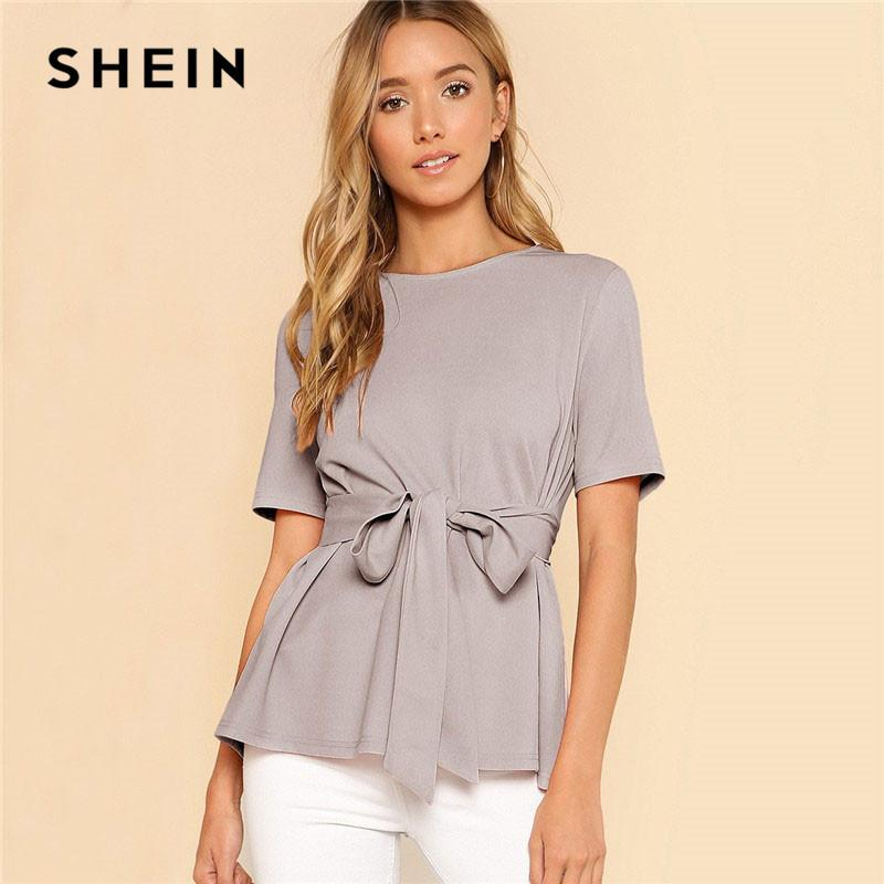 81e2be9827 2019 Shein Self Belt Keyhole Back Solid Top Weekend Out Going Pullover Women  Summer Blouses And Tops Ladies Minimalist Elegant Blouse C19041201 From ...