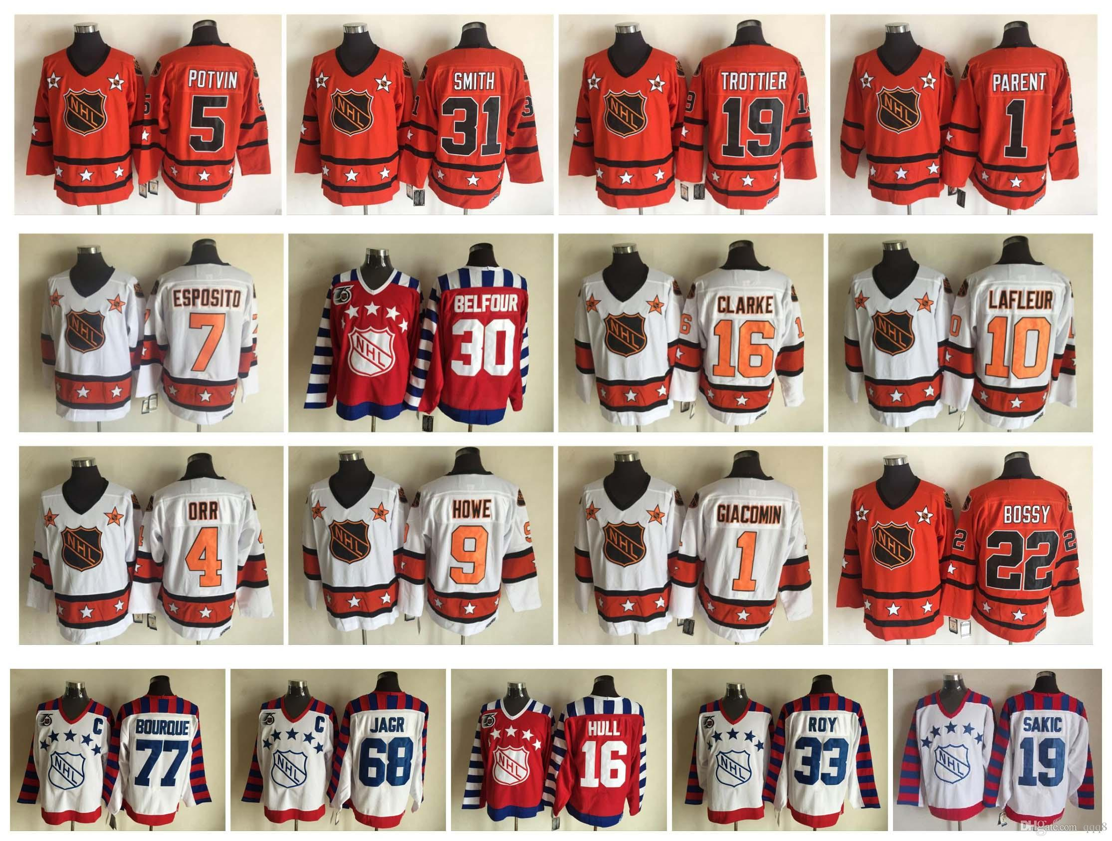 pretty nice 00480 ffaab All Star Jersey 19 Steve Yzerman 33 Patrick Roy 16 Brett Hull 77 Ray  Bourque 68 Jaromir Jagr 19 Joe Sakic 11 Mark Messier 30 Belfour Hockey