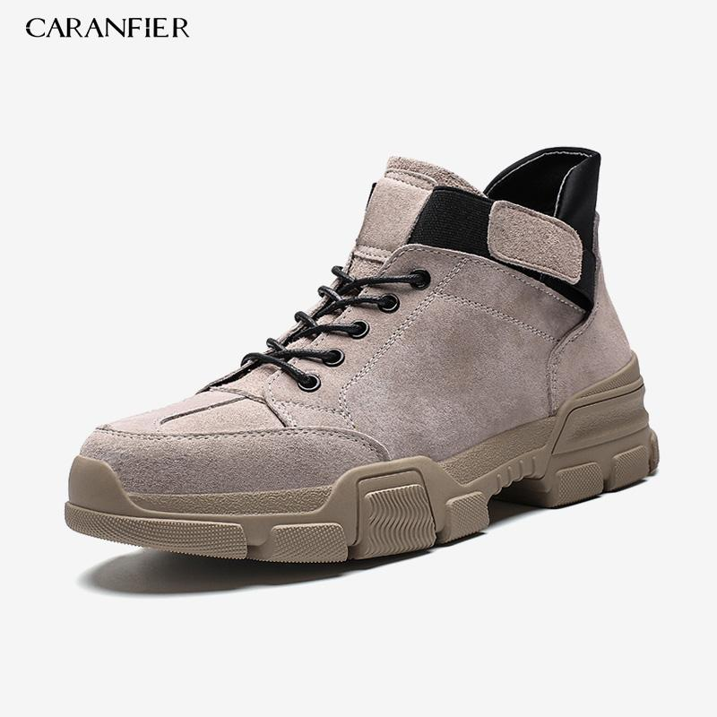 CARANFIER Mens New Street Shoes Rubber Solid Colors Outdoor Breathable Anti-Slip Round Toe Lace-Up Basketball Sneakers