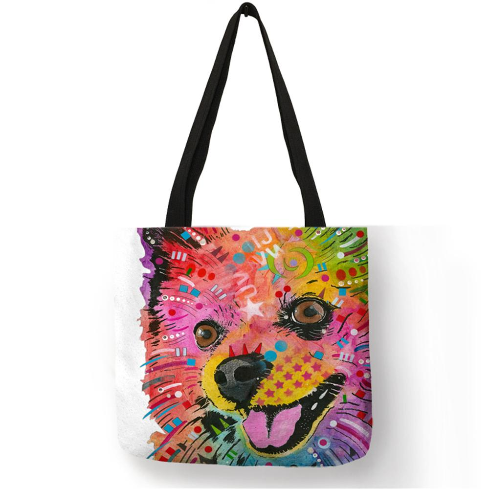 New Style Fashion Hand Bags Colored Animal Painting Dogs Cats Linen Casual Large Reusable Shoulder Bag For Women Men