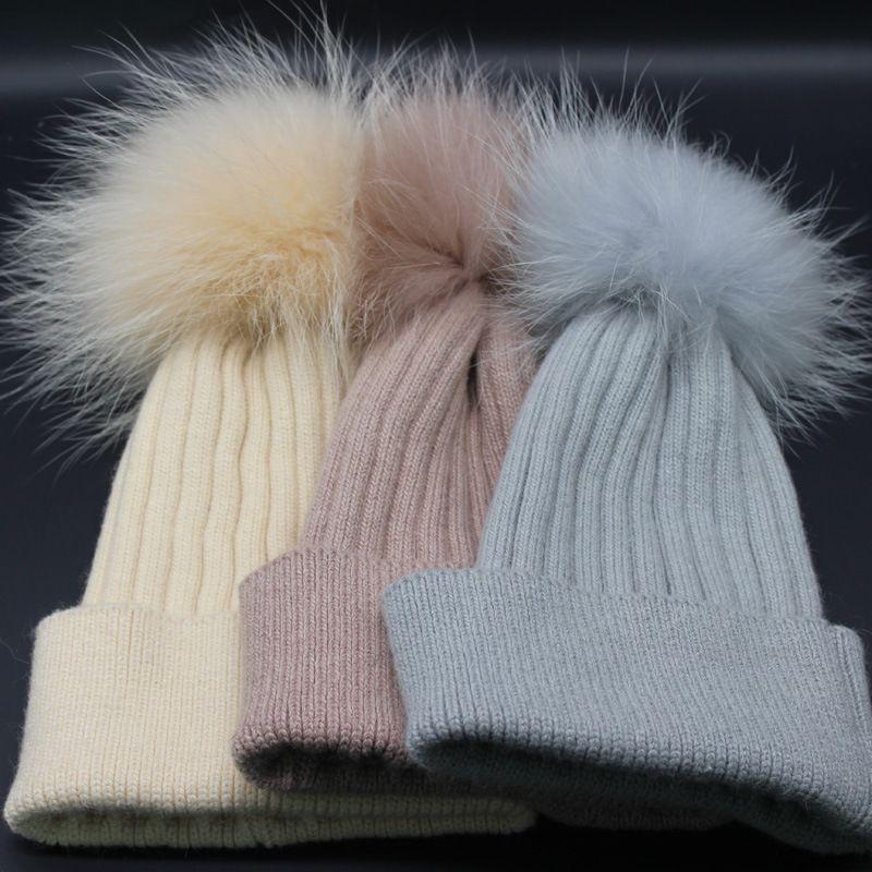 Woman Winter Hats Beanie Girls Wool Knitted Caps Raccoon Fur Pom Pom ... 87a97e7d3b4e