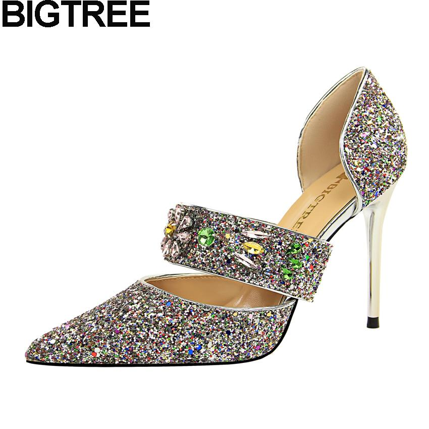 8a4d1abe5c Dress Bigtree Luxury Elegant Women Pumps Pointy Toe Cut Out Crystal  Rhinestone High Heels Mary Jane Bling Sequined Wedding Shoes 2019 Mens  Slippers Footwear ...