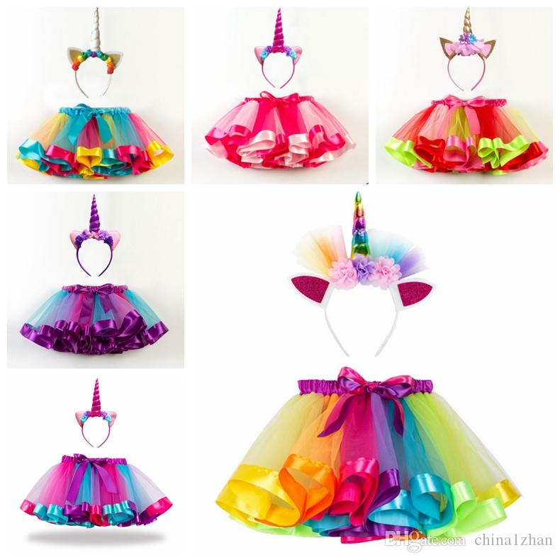 Tutu Skirt Girls Rainbow Pettiskirt Unicorn Headband 2PCS Sets Tulle Tutu Dance Skirts Summer Kids Clothing 11 Designs Optional DHW2295