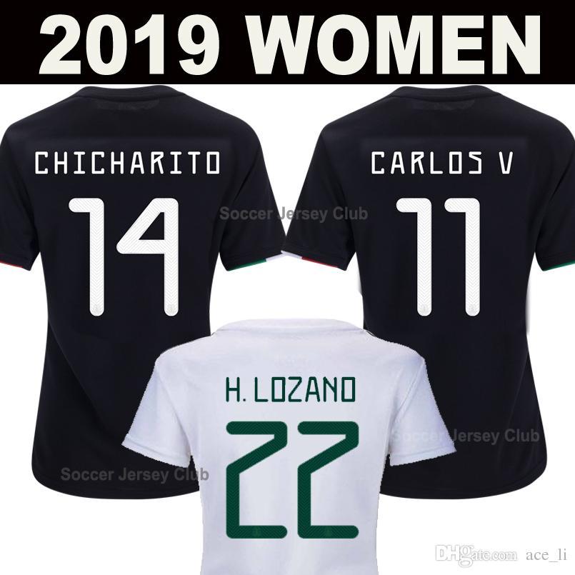 2019 Women Mexico Soccer Jerseys Gold Cup CHICHARITO CHUCKY LOZANO Girls  MARQUEZ DOS SANTOS GUARDADO Lady Football Shirt Camisetas de fútbol