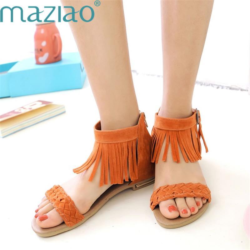 99178c1f26d Female Shoe Suede Open Toe Tassels Belt Buckle Flat Heel Comfortable Sandals  Women 2019 Summer MAZIAO Ladies Sandals Girls Sandals From  Amoybasketballshoes