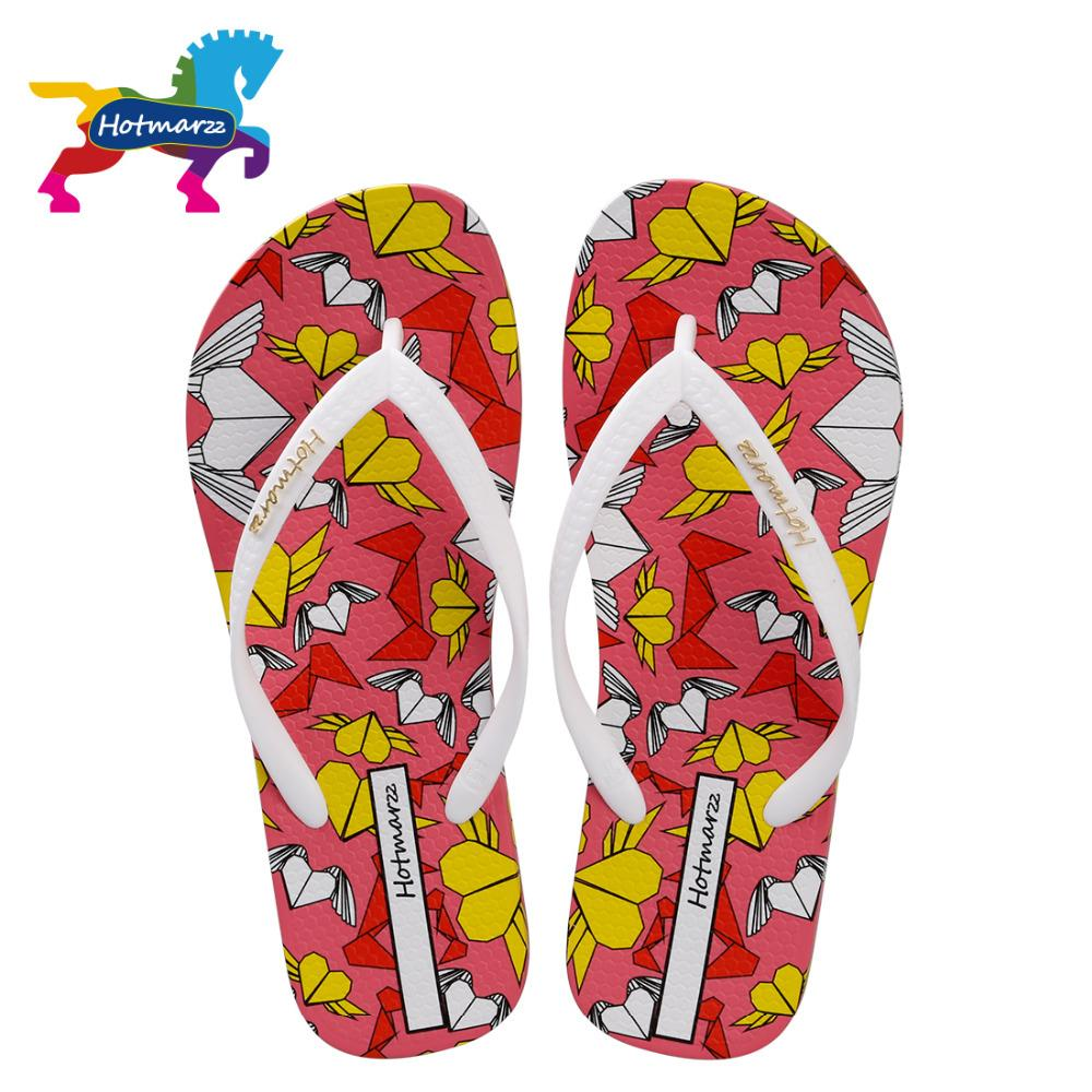 Hotmarzz Women Slippers Summer Flip Flops Fashion Slides Cartoon Heart Love Beach Sandals Slippers Ladies House Shoes Woman